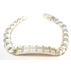 RHODIUM-PLATED SILVER MEN'S BRACELET with WHITE GOLD 18 KT