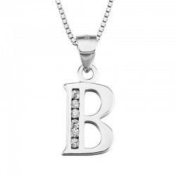 VENETIAN NECKLACE WITH RHODIUM-PLATED SILVER PENDANT WHITE GOLD INITIAL LETTER A CUT CUBIC ZIRCONIA BRILLANATE
