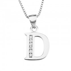 INITIAL LETTER C PENDANT NECKLACE IN RHODIUM-PLATED WHITE GOLD AND CUBIC ZIRCONIA CUT BRILLANATE
