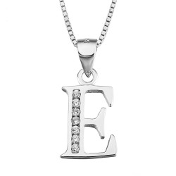 INITIAL LETTER D PENDANT NECKLACE IN RHODIUM-PLATED WHITE GOLD AND CUBIC ZIRCONIA CUT BRILLANATE
