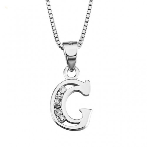 INITIAL LETTER F PENDANT NECKLACE IN RHODIUM-PLATED WHITE GOLD AND CUBIC ZIRCONIA
