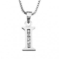 INITIAL LETTER G PENDANT NECKLACE IN RHODIUM-PLATED WHITE GOLD AND CUBIC ZIRCONIA