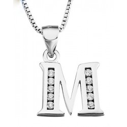 INITIAL LETTER L PENDANT NECKLACE IN RHODIUM-PLATED WHITE GOLD AND CUBIC ZIRCONIA