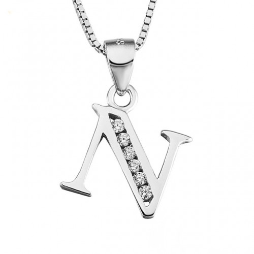 INITIAL LETTER M PENDANT NECKLACE IN RHODIUM-PLATED WHITE GOLD AND CUBIC ZIRCONIA