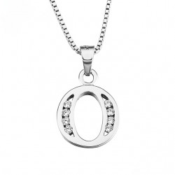 PENDANT NECKLACE INITIAL LETTER O SILVER RHODIUM-PLATED WHITE GOLD AND DIAMONDS