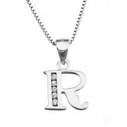 INITIAL LETTER P PENDANT NECKLACE IN RHODIUM-PLATED WHITE GOLD AND CUBIC ZIRCONIA