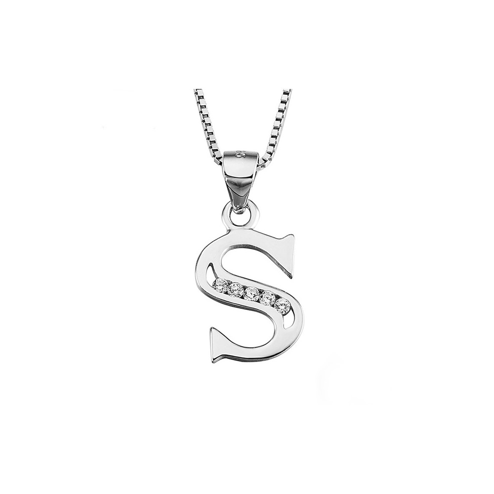 initial alphabet ctw necklace letter white pendant s genuine diamond gold
