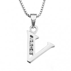 PENDANT NECKLACE INITIAL LETTER V SILVER RHODIUM-PLATED WHITE GOLD AND DIAMONDS