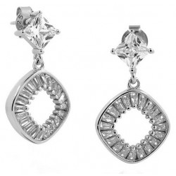 WHITE GOLD RHODIUM PLATED SILVER EARRINGS WITH CUBIC ZIRCONIA AND PEARLS