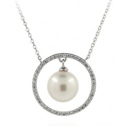 NECKLACE IN SILVER RHODIUM-PLATED WHITE GOLD 18 KT WITH PEARL OF THE SEA, AND CUBIC ZIRCONIA