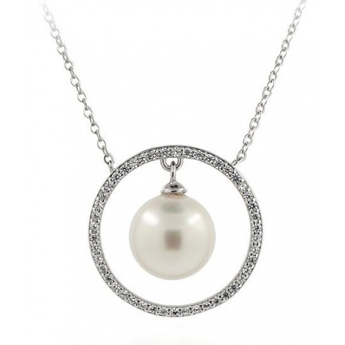 18 KT WHITE GOLD RHODIUM SILVER NECKLACE with PEARL and ZIRCONS
