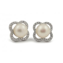 18 KT WHITE GOLD RHODIUM PLATED SILVER EARRINGS with CUBIC ZIRCONIA