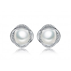 RHODIUM-PLATED SILVER EARRINGS 18 KT WHITE GOLD with Pearl and ZIRCONS