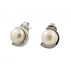 18 KT WHITE GOLD RHODIUM PLATED SILVER EARRINGS with PEARLS