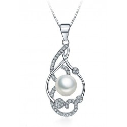 NECKLACE WITH PENDANT IN SILVER RHODIUM-PLATED WHITE GOLD WITH PEARL AND ZIRCONS