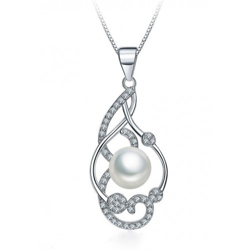 RHODIUM-PLATED SILVER PENDANT NECKLACE WHITE GOLD WITH PEARL AND ZIRCONS