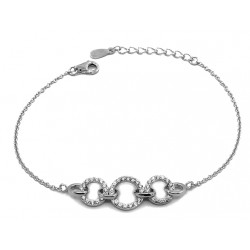 INFINITE WHITE GOLD CUBIC ZIRCONIA BRACELET RHODIUM-PLATED SILVER ROUND BRILLIANT CUT