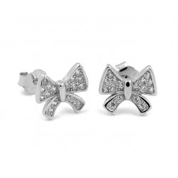 RHODIUM-PLATED SILVER HEART EARRINGS WHITE GOLD BRILLIANT CUT CUBIC ZIRCONIA 18 KT