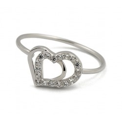 RING WHITE GOLD AND RHODIUM-PLATED SILVER HEART CUBIC ZIRCONIA