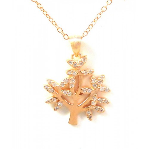 TREE of LIFE NECKLACE IN 18 KT WHITE GOLD RHODIUM SILVER with ZIRCONS