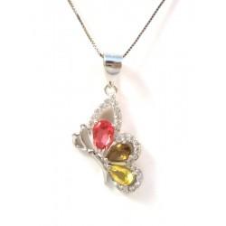 18 KT de oro blanco Rodio plata collar de la flor con CUBIC ZIRCONIA
