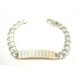 RHODIUM-PLATED SILVER MEN'S BRACELET with 18 KT WHITE GOLD CHAIN MODEL with PLATE