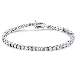 RHODIUM-PLATED SILVER CUBIC ZIRCONIA WHITE GOLD TENNIS BRACELET