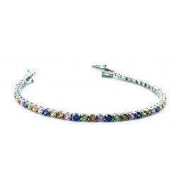 UNOAERRE TENNIS BRACELET IN RHODIUM SILVER WITH BLACK CUBIC ZIRCONIA