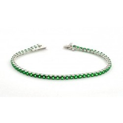 TENNIS BRACELET IN RHODIUM-PLATED WHITE GOLD WITH GREEN ZIRCON
