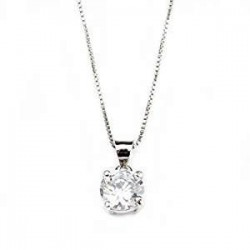 NECKLACE WHITE GOLD 18 KT RHODIUM PLATED SILVER STUD with CUBIC ZIRCONIA