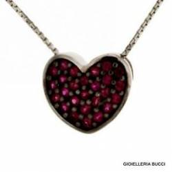 HEART NECKLACE IN 18KT white gold and RUBIES