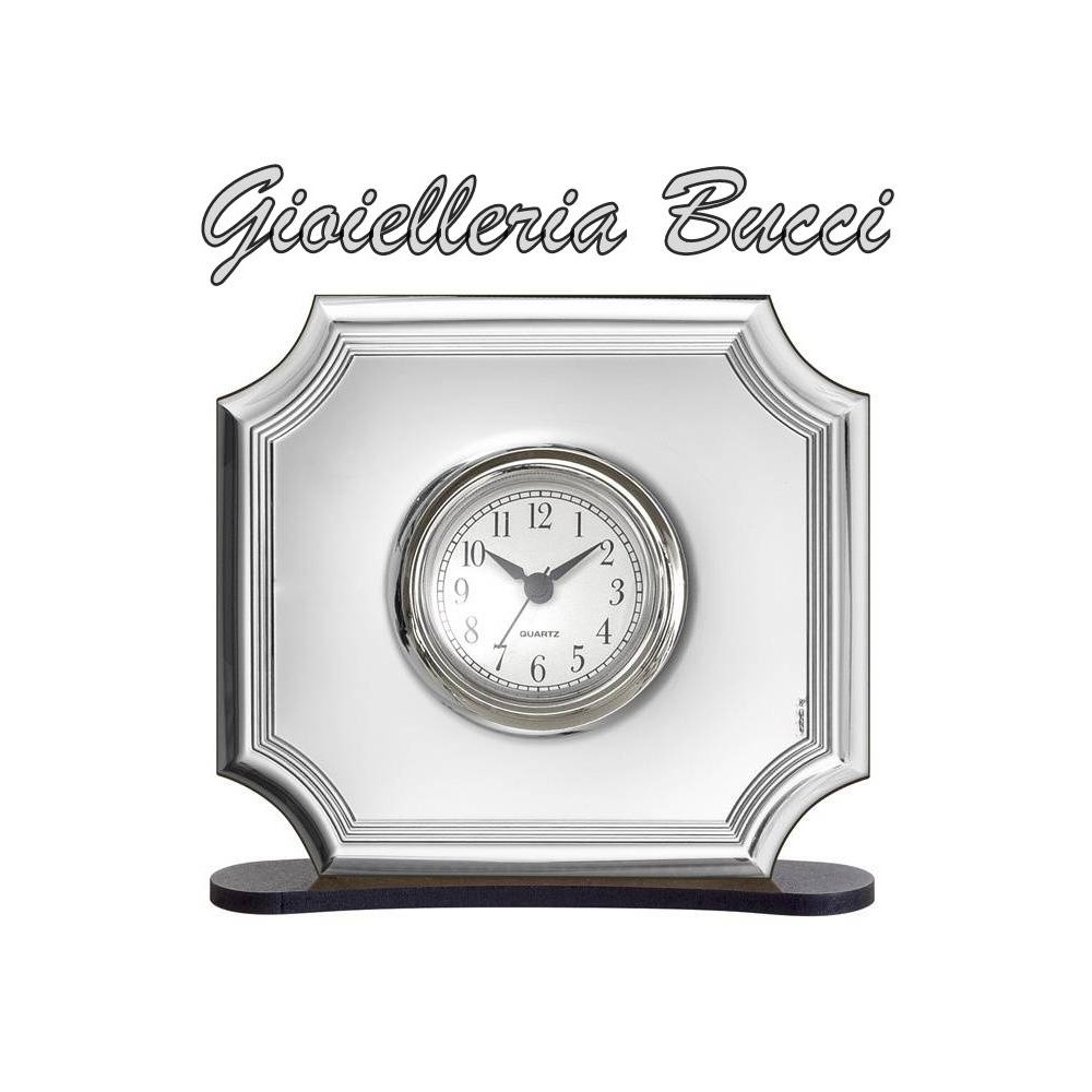 Orologio Sveglia Da Tavolo In Argento E Legno Bel4612 6