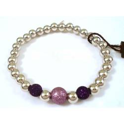 UNOAERRE BRACELET WITH SILVER GLITTER BALL PURPLE