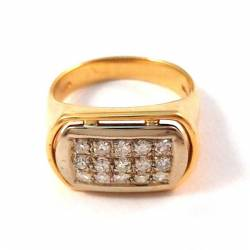 Yellow and white 18 KT GOLD RING with 15 DIAMONDS