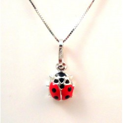 VENETIAN NECKLACE UNISEX 18 KT WHITE GOLD with LADYBIRD