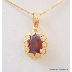 VENETIAN NECKLACE IN 18 KT YELLOW GOLD with RUBY PENDANT