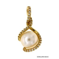 PENDANT IN 18 KT YELLOW GOLD with PEARL NECKLACE + FREE GIFT