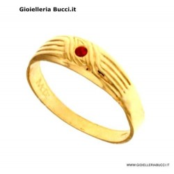 MEN'S RING IN 18 KT YELLOW GOLD with RED ZIRCON