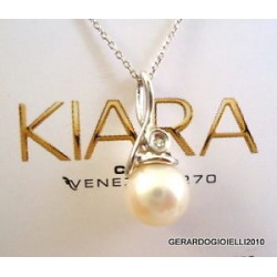 MILUNA NECKLACE WHITE GOLD PEARL GEMS AND BRILLIANT