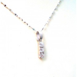 NECKLACE 18 K WHITE GOLD with CUBIC ZIRCONIA PENDANT